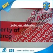Anti falso adesivo tamper evidente garantia de alto rendimento segurança vazio carton fita de vedação