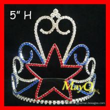 Tiara cristalina al por mayor de la corona del desfile de la estrella, coronas de los niños de la estrella, coronas al por mayor de los cabritos