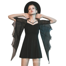 OPQ-770LQF 2021 new arrivals v-neck black bat-wing short flare sleeve A-line alibaba online shopping Girls' Chiffon Dresses