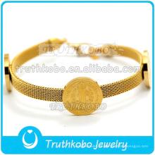 Venta al por mayor pulsera de cadena de malla de malla de malla de la medalla de Cristo de San Benito de Cristo pulsera de oro de acero inoxidable