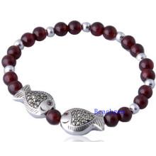 Natural Garnet Beads Bracelet with Finsh Silver Charm (BRG0018)