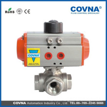 3 way ball valve with spring return pneumatic AT actuator