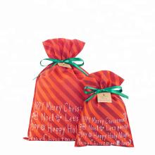 Weihnachtsrot Vlies Kordelzug gestreifte Geschenktüte