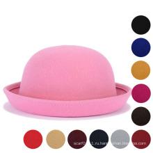 Леди Классическая простая шерстяная трикотажная зимняя теплая ведровая шляпа (YKY3235)