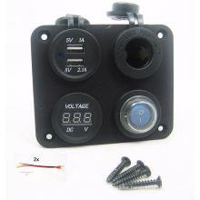 3.1 AMP USB Charger + Voltmeter +12V Socket + Switch Panel Marine Outlet Jack