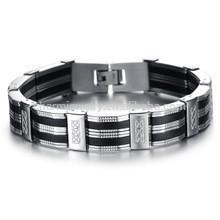 2015 pulsera de acero titanium del silicón rico de la personalidad de la manera de los nuevos hombres PH850