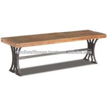 Banc industriel de bois vintage en métal étroit