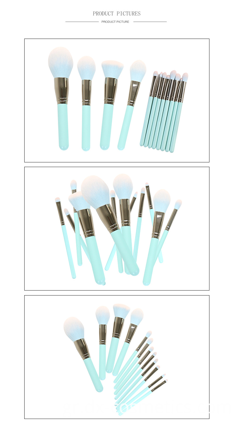 12 Piece Green Makeup Brushes Set 7