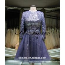 1A918 Sexy Misty Blue Sequin Schärpe lange Ärmel zurück offenen Abendkleid Prom Dress