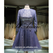 1A918 Sexy Misty Blue Sequin Sash manga comprida Back Open Evening Dress Prom Dress