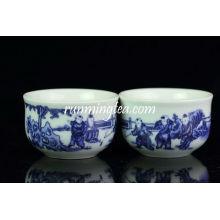 """Big """"Chinese Kids Playing"""" Coupe de thé bleue et blanche"""