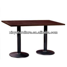 wooden table top with two round metal base XY0799