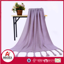 Wholesale 100% Acrylic crocheted knit throw blanket with tassels