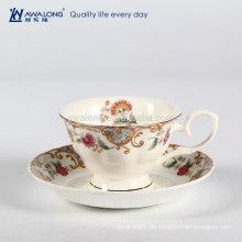 European Style Personalisierte Geschenk Verpackung Fine Bone China Tee Printing Kaffeetasse und Untertasse Set