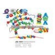JQ1041 Hotsale niños creativo alfabeto de plástico Threading bloque de construcción de juguetes