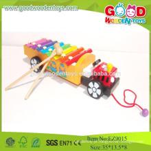 2015 Popular venda de madeira popular de musica Pull Xylophone, brinquedos coloridos Instrumento musical