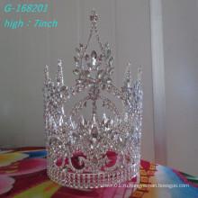 Оптовый модный жемчуг большой конкурс короны полный высокий невесты корону