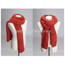Mulheres inverno fancy fios moda acrílico malha lenço longo