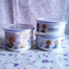 3 pc enamel ice bowl with cute dog pattren