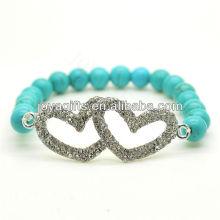 Turquoise 8MM Perles rondes Stretch Gemstone Bracelet avec diamante en alliage Double coeur Piece