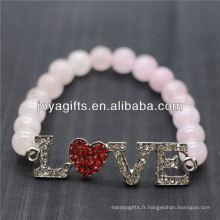 Vente en gros Diamante Love Logo avec 8MM Semi Precious Stone Stretch Bracelet