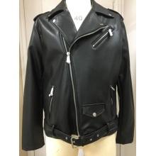 Черная мото куртка из искусственной кожи