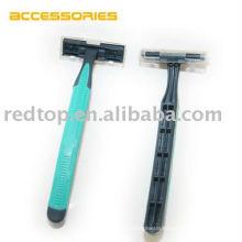Green Color Rubber Handle Carbon Steel Blade Disposable crazy cart razor