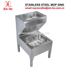 Stainless Steel Janitorial Unit with Hand Wash Basin, Stainless Steel Bucket Sink Mop Sink Cleaner Sink for Commercial Sanitary