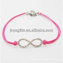 Rose alambre diamante número ocho aleación pulsera tejida