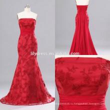 Красный милая декольте Русалка сшитое Длина пола дизайн длинные вечерние наряды ED151 кружева формальное вечернее платье