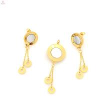 Neues Design Edelstahl Medaillon & Gold Plate Ohrring Schmuck-Set