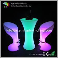 Indoor / Outdoor Glowing LED Tall Bar Tisch mit Glas
