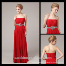 New Modern Wholesale Floor-Length Strapless Red Chiffon Evening Dress With Crystals Belt 8076