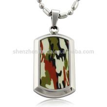 Venta al por mayor patrón de camuflaje de moda con pendiente de acero inoxidable colgante de etiqueta de perro collares joyería