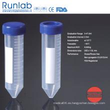 Tubos de centrífuga de fondo cónico de 50 ml aprobados por la FDA y la CE con graduación impresa en un paquete de bastidor de espuma
