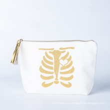 Custom Printed Organic Cosmetic Bag Natural Cotton Eco Friendly Makeup Bag With Handles