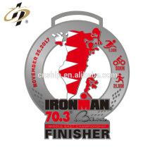 Antique silver zinc alloy custom metal sport Ironman Triathlon medal with ribbon