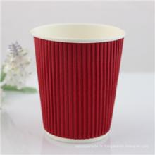 Tasse à café jetable chaude de papier peint de double de 8oz potable