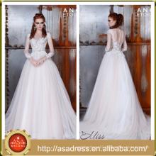 AE-09 Romantic White Long Sleeve Lace Applique Wedding Dress Bridal Ball Gown Crepe Vestido De Noiva 2015 for Wedding Party