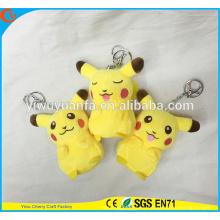 Encantador estilo de alta calidad Amarillo Pikachu Doll lindo 4 pulgadas Pokemon Go Plush Keychain