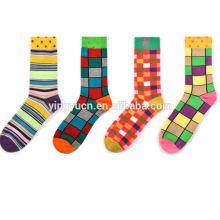 Hot Sale customs logo fashion colorful happy man dress crew cotton socks wholesale