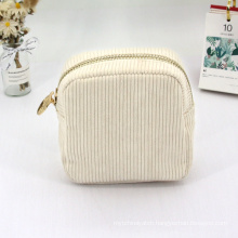 Custom Soft Cotton Beige Corduroy Cosmetic Bags Portable Makeup Bags LOGO Wholesale Pouch