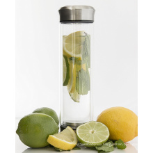 Delicate Design Cudtom Logo Tea Infuser Glass Water Bottle with Stainless Steel Lid bubble tea glass cup