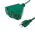 16AWG Indoor/Outdoor  3 Outlet Extension Cord with Waterproof Safety Cover 25 Feet - Green