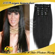 Facile à ajouter jet noir soyeux droite double trame clip dans l'extension de cheveux pour les femmes noires