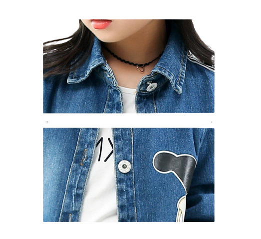 Girls Stylish Pattern Windproof Denim Jacket
