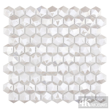 3D Hexagon White Diamond Mosaic für Akzentwand