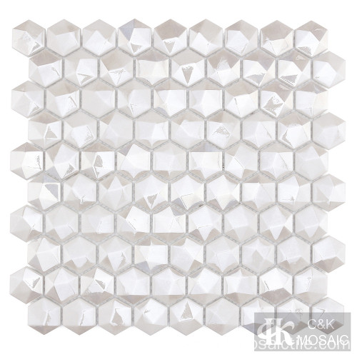 Mosaico de diamante blanco hexagonal 3D para pared decorativa