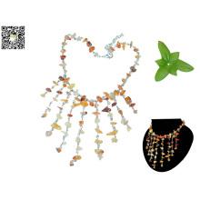 Collar de piedras preciosas de alta calidad de cuero genuino joyas de piedras preciosas al por mayor