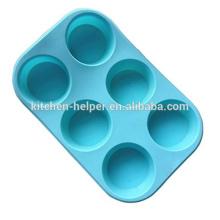 FDA Lavado fácil Grado alimenticio Silicona 6Cup Muffin Cupcake Cake Liners Pan de hornear Molde de hielo Silicona Flexible hornear Muffin Pan